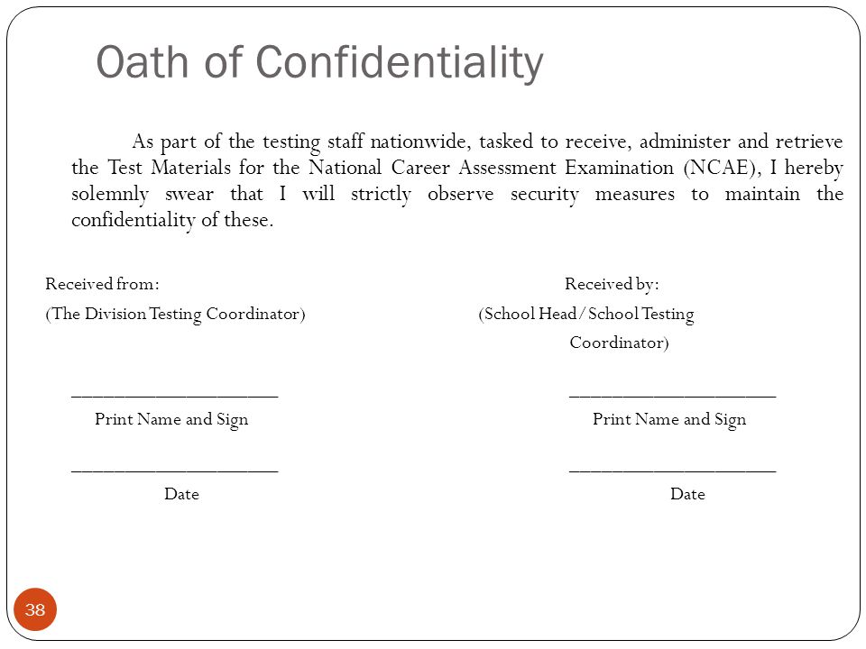 Oath of Confidentiality