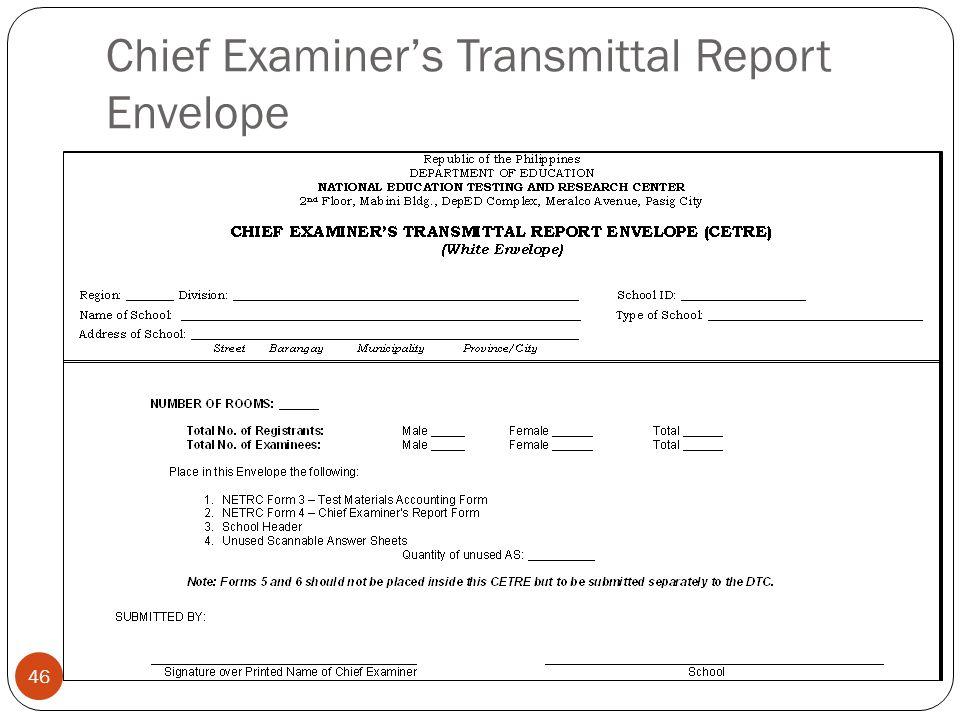 Chief Examiner's Transmittal Report Envelope