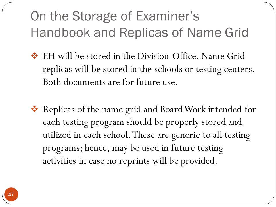 On the Storage of Examiner's Handbook and Replicas of Name Grid