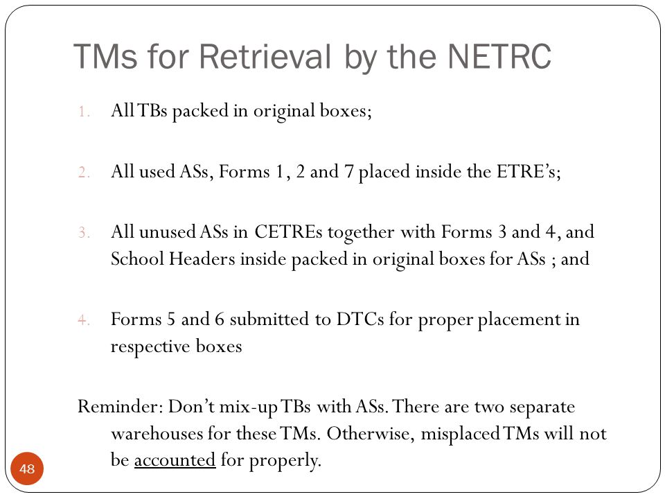 TMs for Retrieval by the NETRC