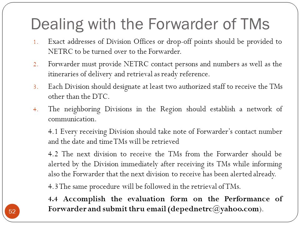 Dealing with the Forwarder of TMs