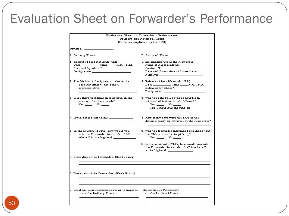 Evaluation Sheet on Forwarder's Performance