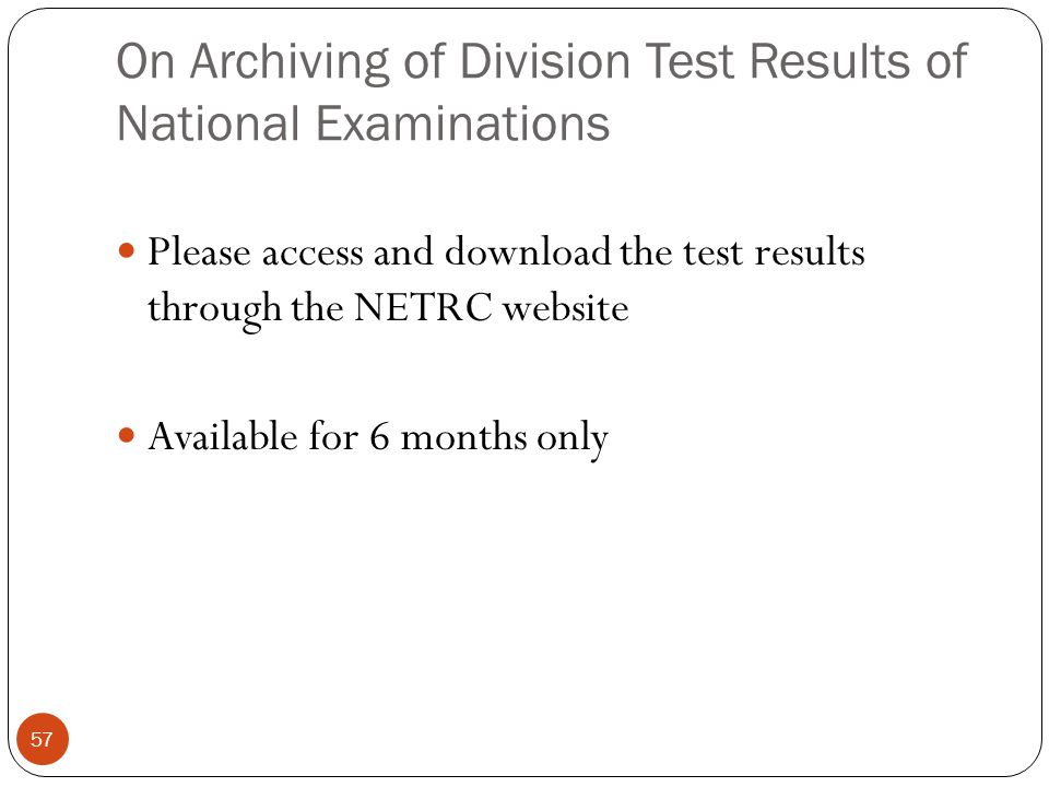 On Archiving of Division Test Results of National Examinations