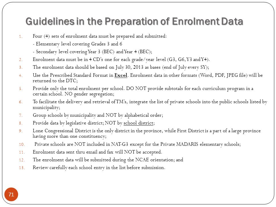 Guidelines in the Preparation of Enrolment Data