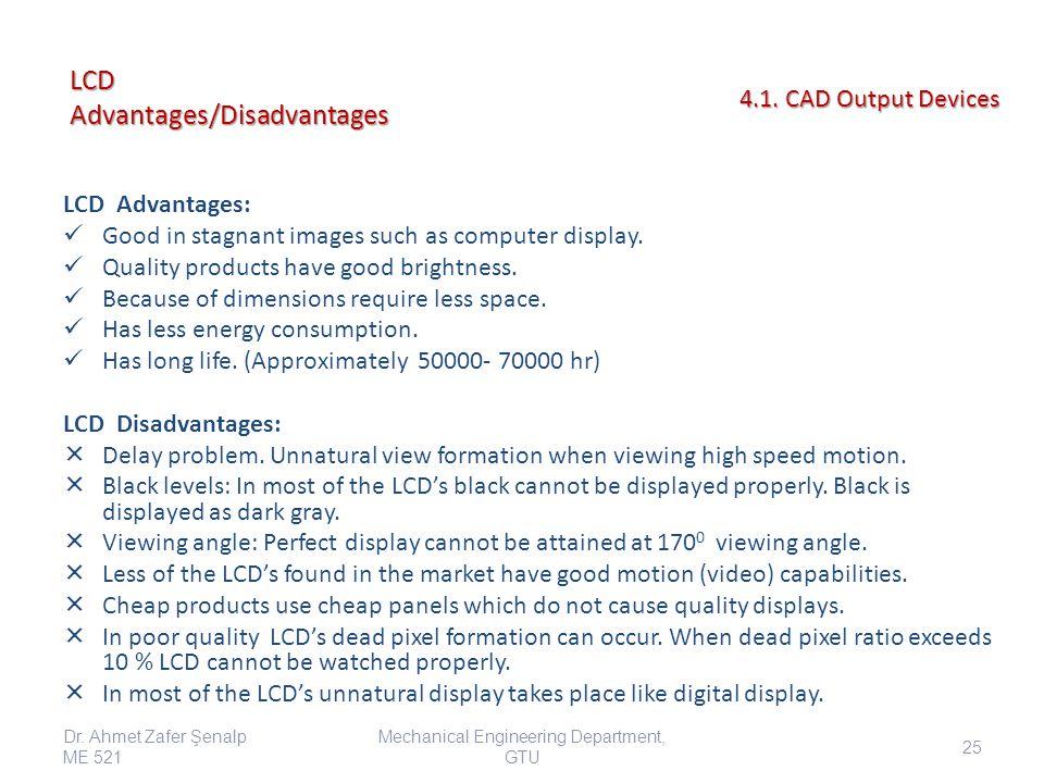 LCD Advantages/Disadvantages