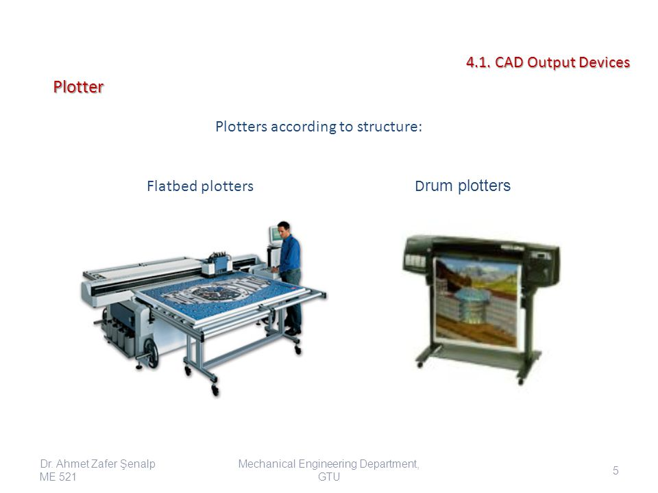 Plotter 4.1. CAD Output Devices Plotters according to structure:
