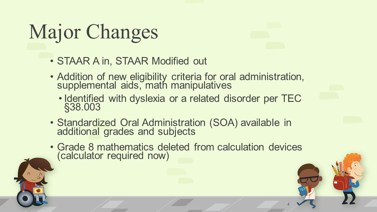 Major Changes STAAR A in, STAAR Modified out