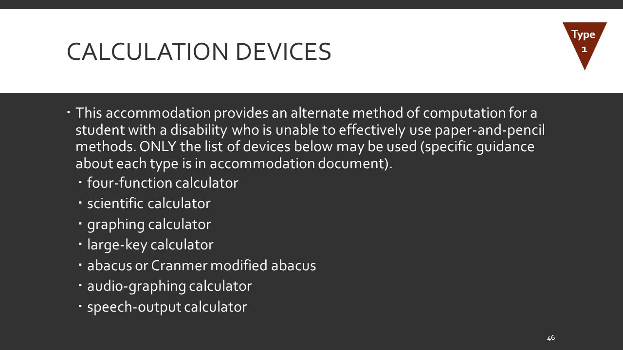Calculation Devices Type. 1.