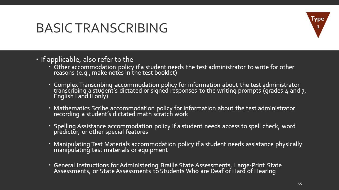 Basic Transcribing If applicable, also refer to the