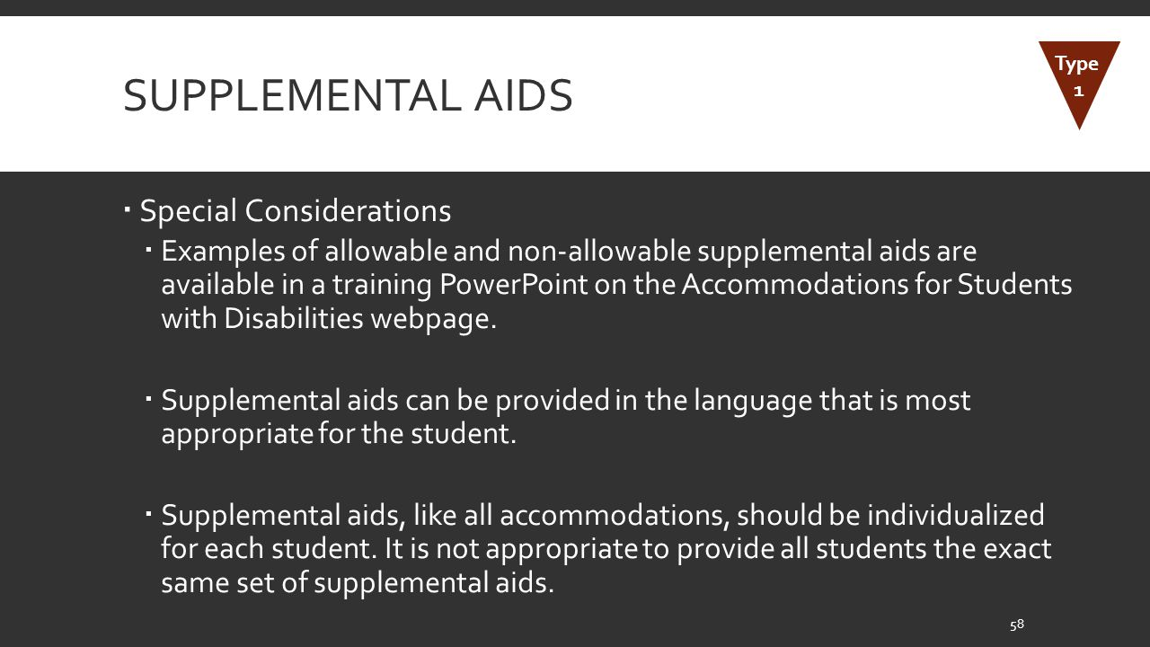 Supplemental Aids Special Considerations