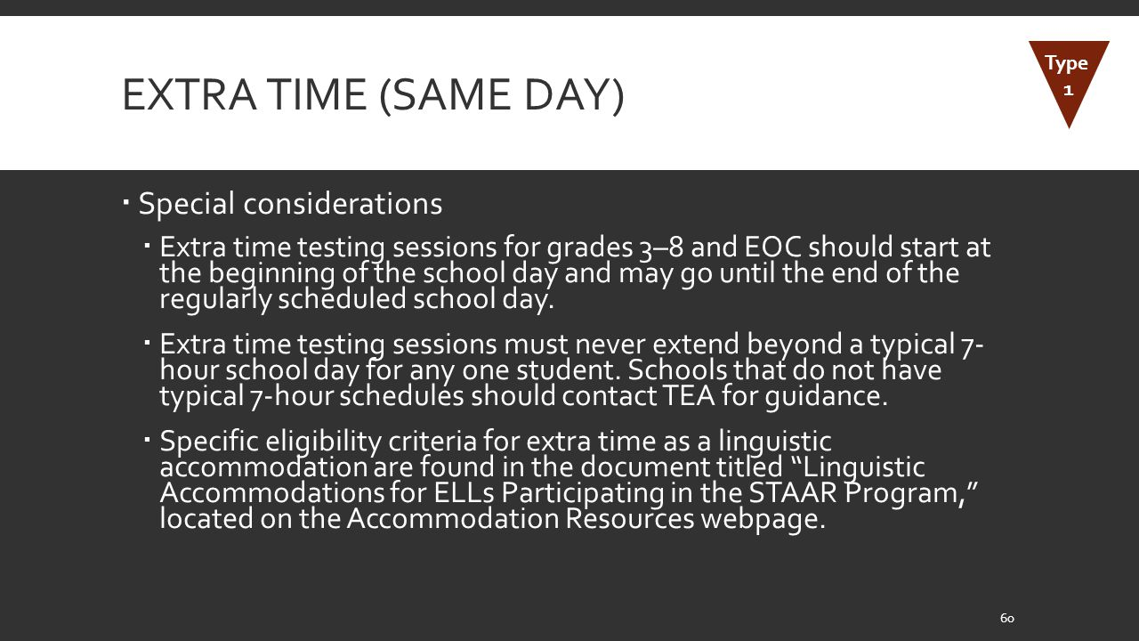 Extra Time (Same Day) Special considerations