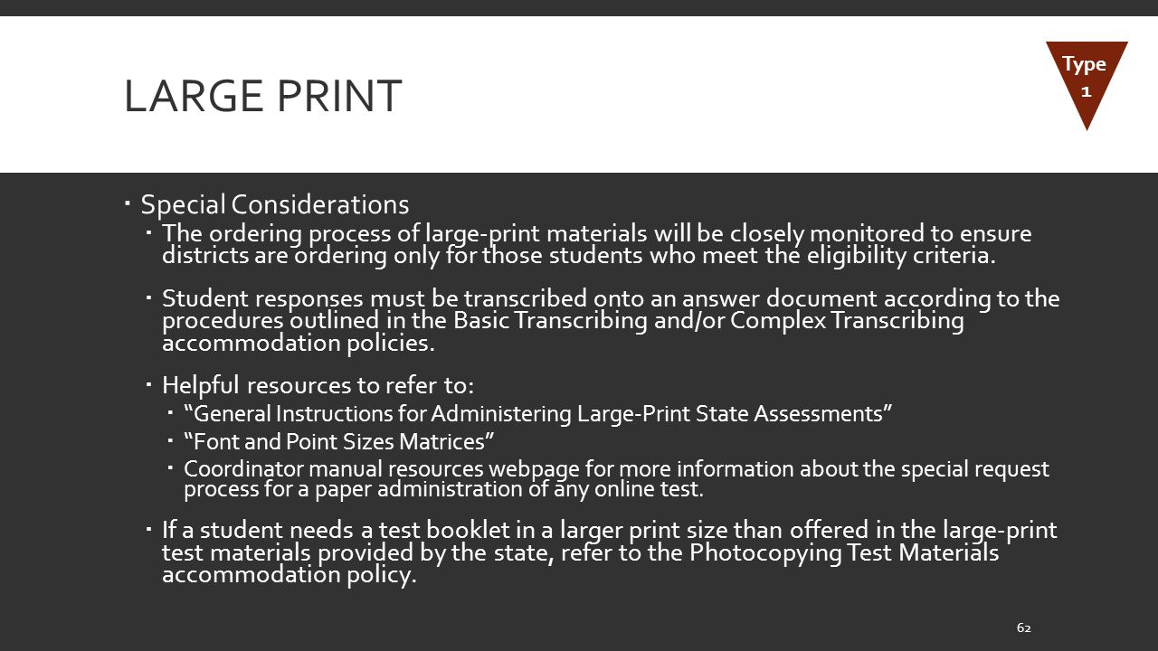 Large Print Special Considerations