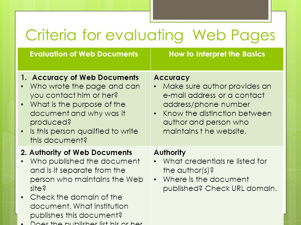 Criteria for evaluating Web Pages