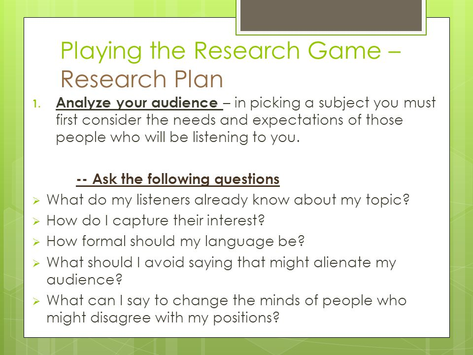 Playing the Research Game – Research Plan