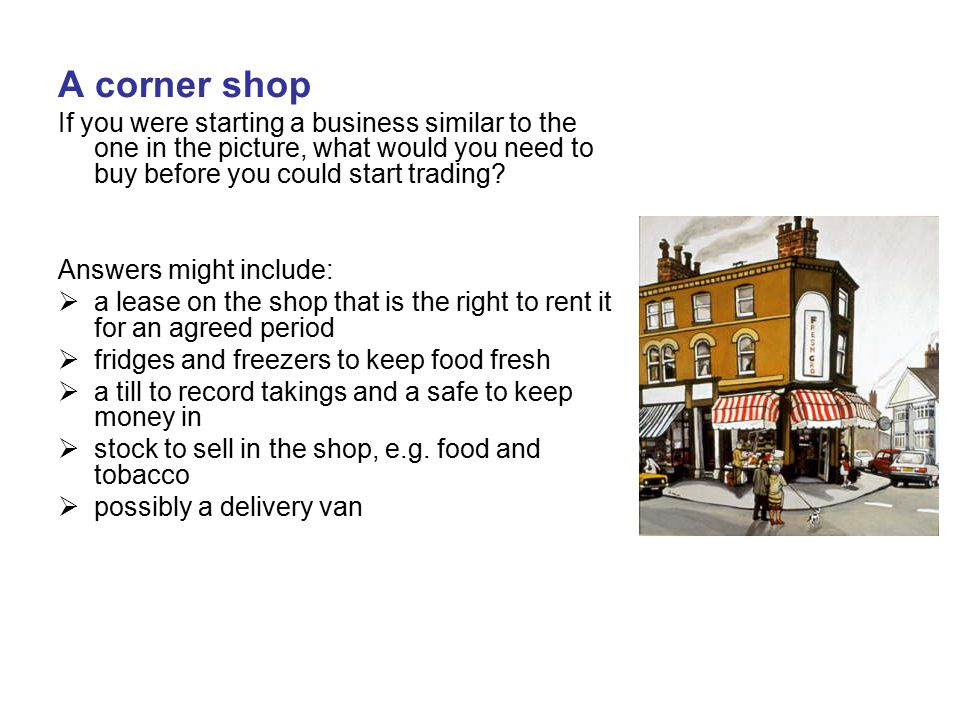 A corner shop If you were starting a business similar to the one in the picture, what would you need to buy before you could start trading