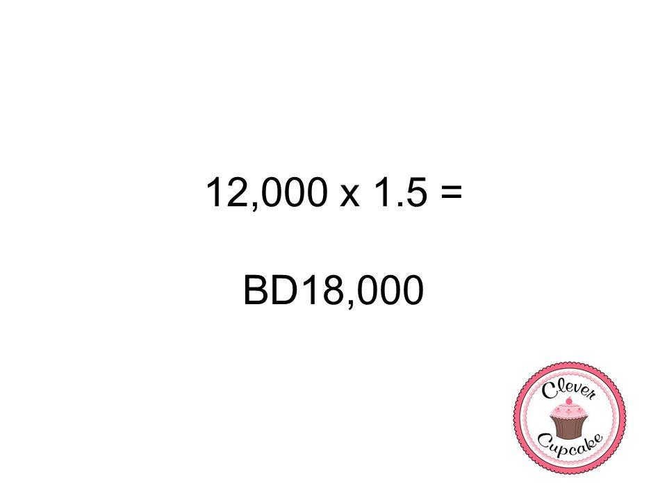 12,000 x 1.5 = BD18,000