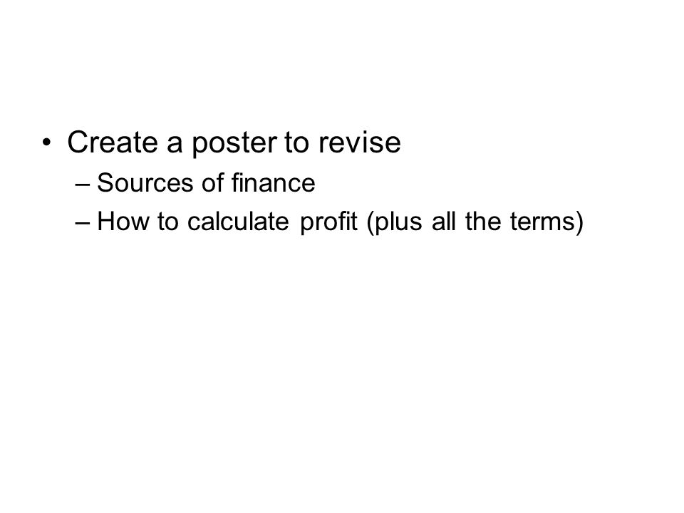 Create a poster to revise
