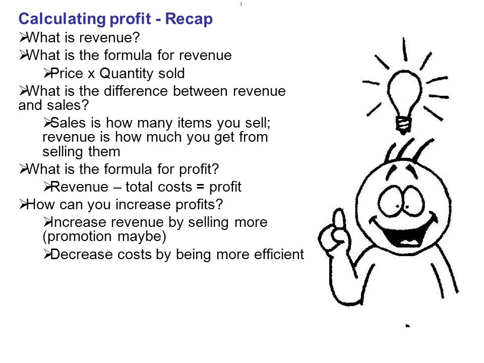 Calculating profit - Recap