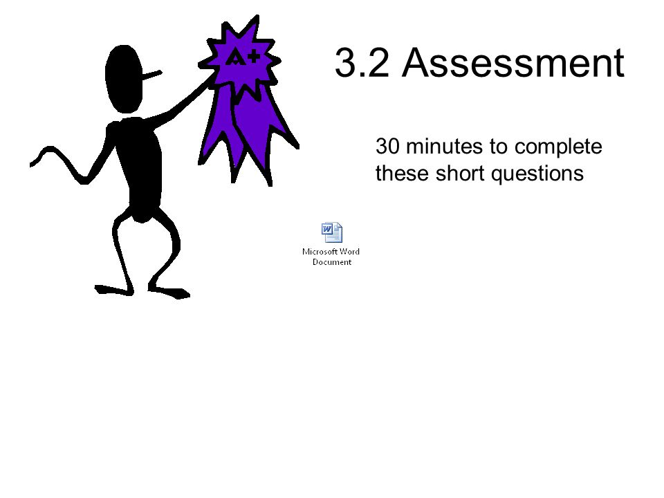 3.2 Assessment 30 minutes to complete these short questions