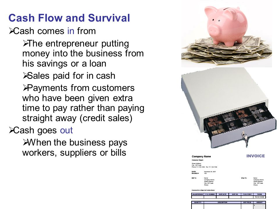 Cash Flow and Survival Cash comes in from
