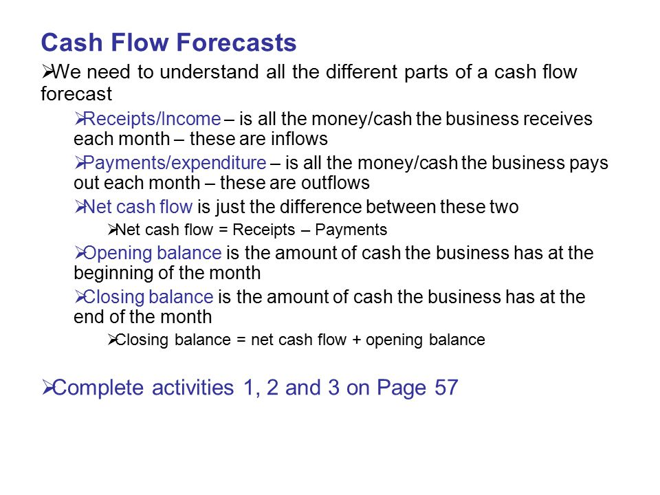 Cash Flow Forecasts Complete activities 1, 2 and 3 on Page 57