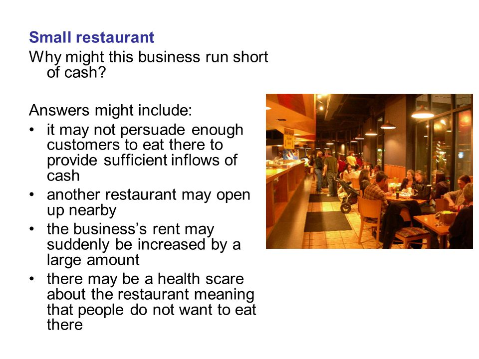 Small restaurant Why might this business run short of cash Answers might include: