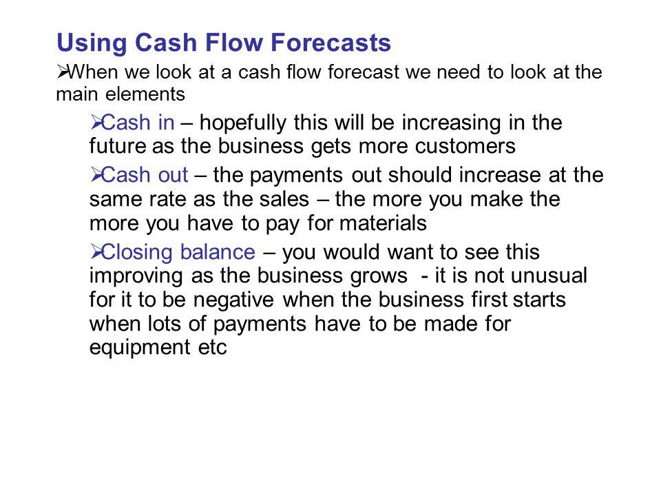 Using Cash Flow Forecasts