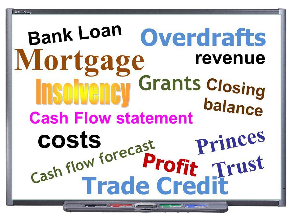 Mortgage costs Overdrafts Trade Credit Princes Trust Grants Profit