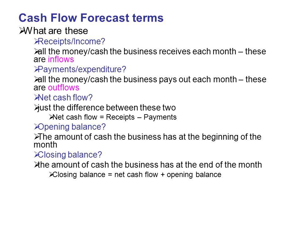 Cash Flow Forecast terms