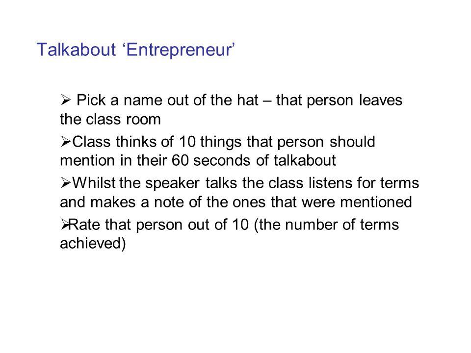 Talkabout 'Entrepreneur'