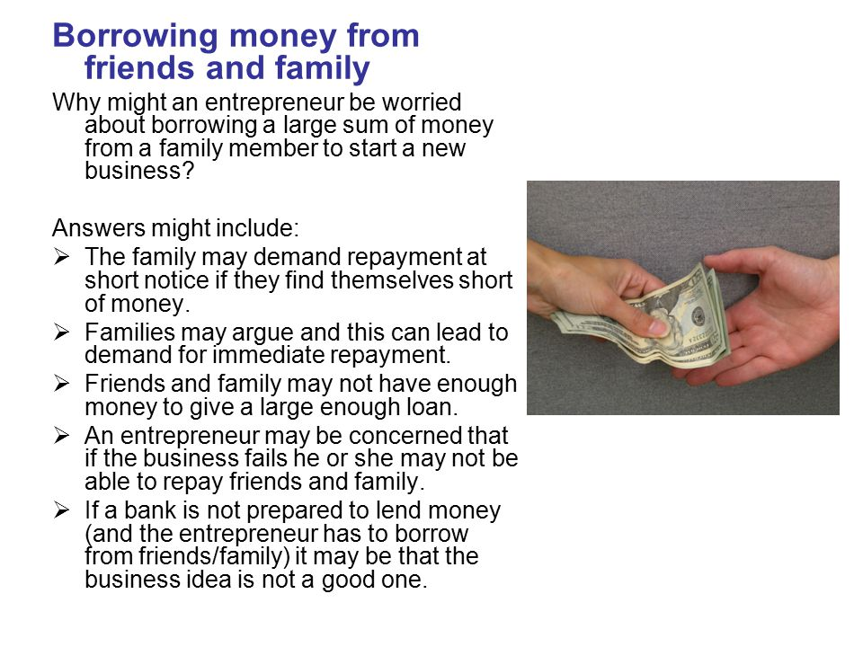 Borrowing money from friends and family