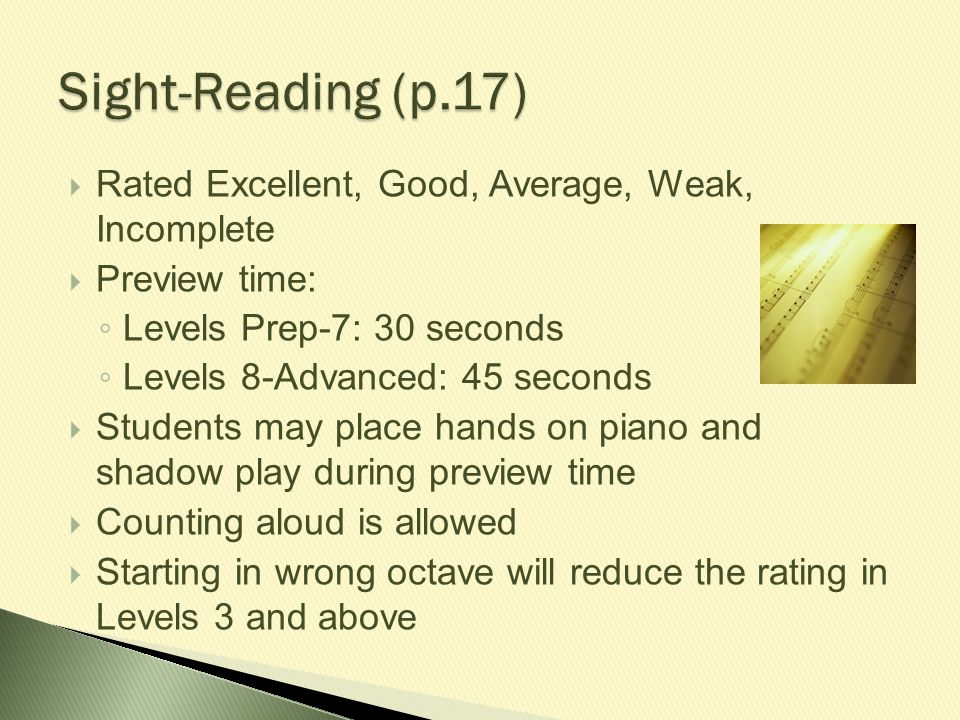 Sight-Reading (p.17) Rated Excellent, Good, Average, Weak, Incomplete