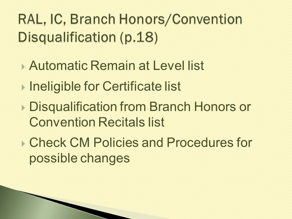 RAL, IC, Branch Honors/Convention Disqualification (p.18)