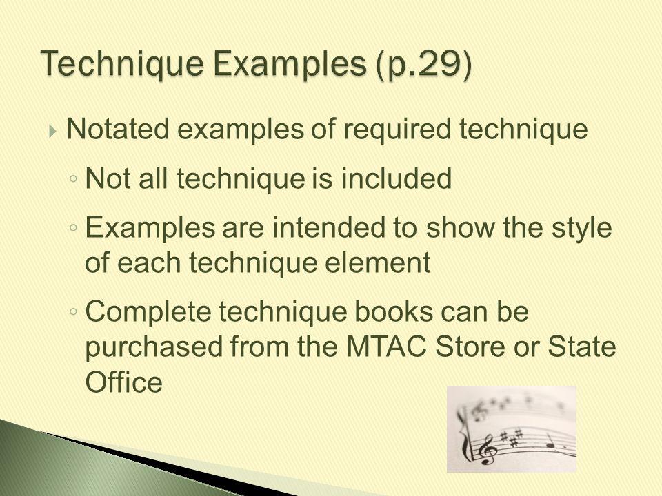 Technique Examples (p.29)