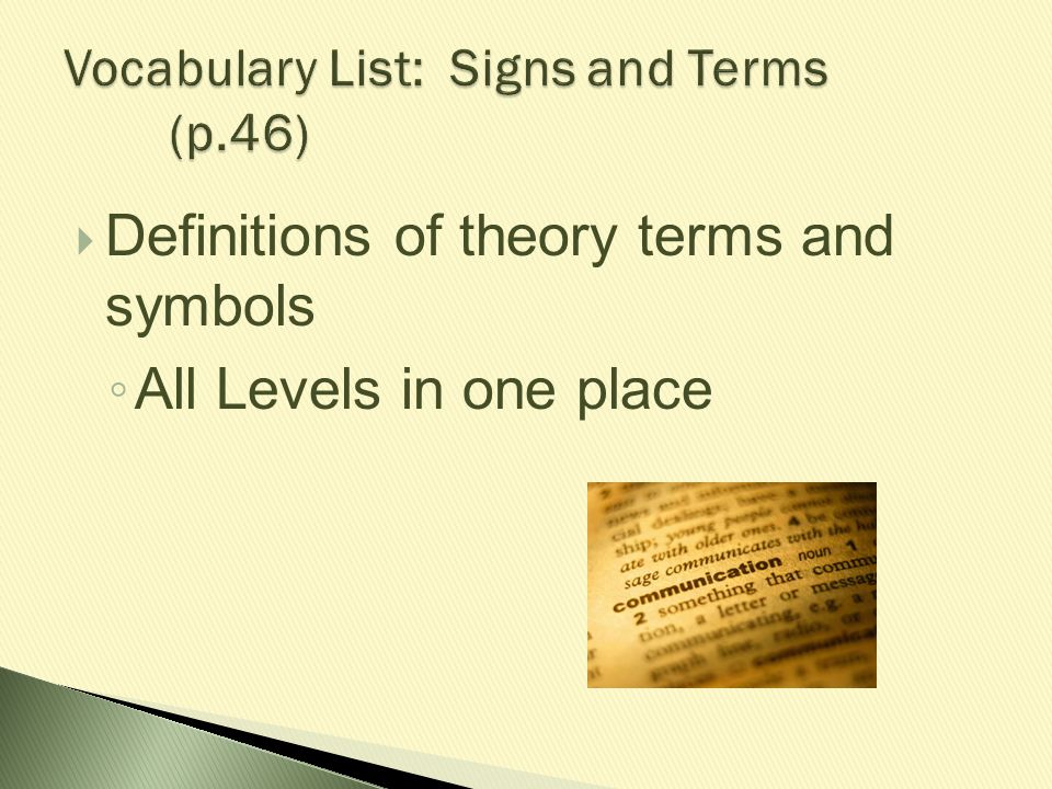 Vocabulary List: Signs and Terms (p.46)