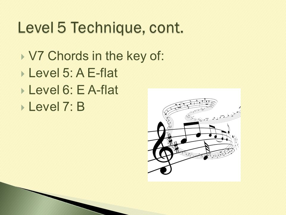 Level 5 Technique, cont. V7 Chords in the key of: Level 5: A E-flat