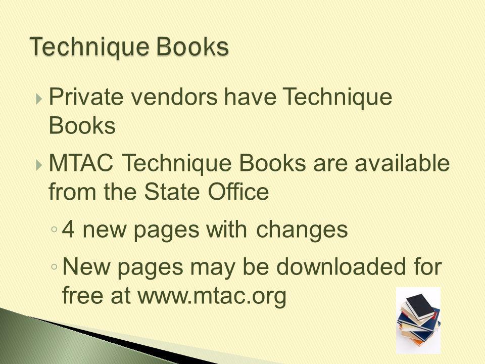Technique Books Private vendors have Technique Books