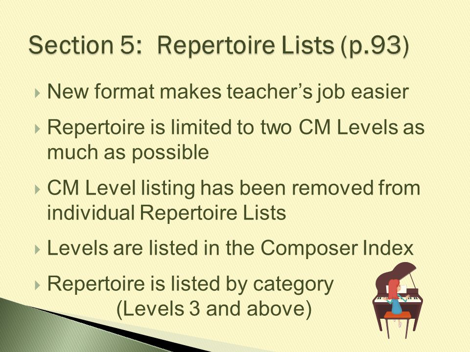 Section 5: Repertoire Lists (p.93)