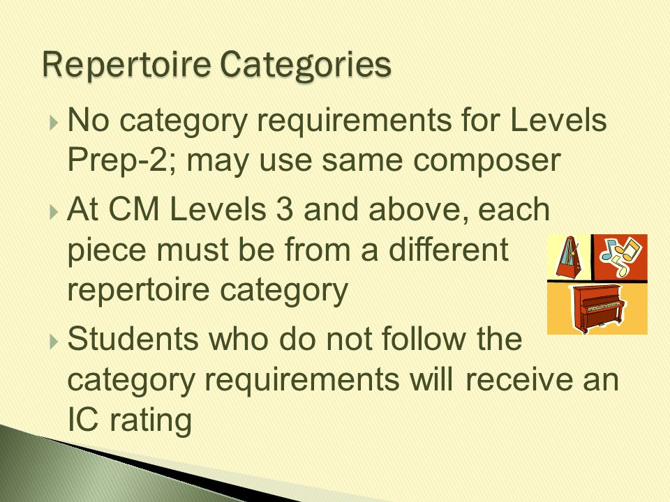 Repertoire Categories