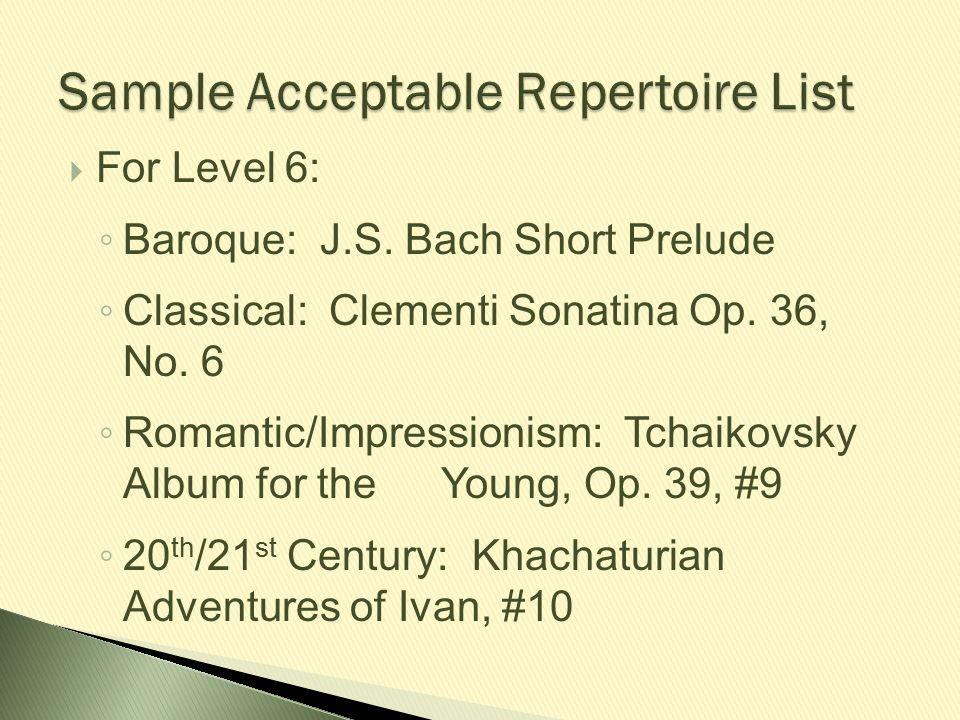 Sample Acceptable Repertoire List