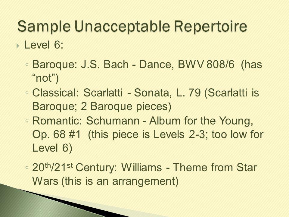 Sample Unacceptable Repertoire