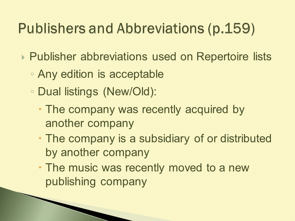 Publishers and Abbreviations (p.159)