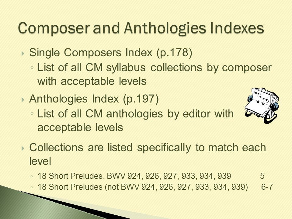 Composer and Anthologies Indexes