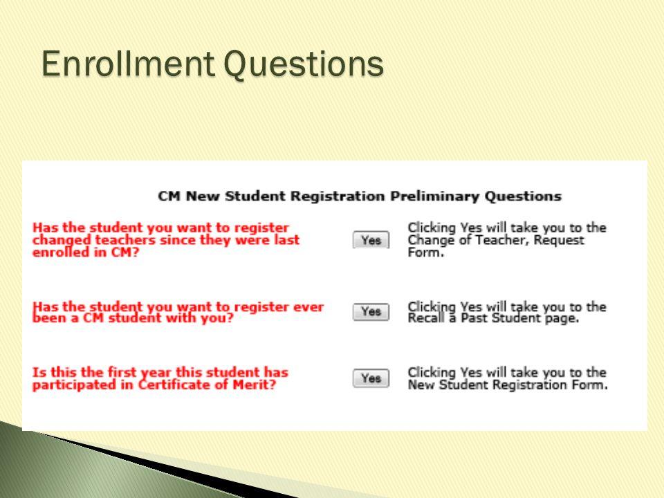Enrollment Questions