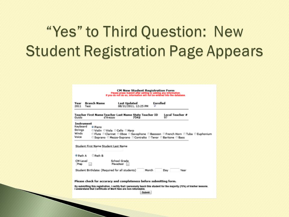 Yes to Third Question: New Student Registration Page Appears