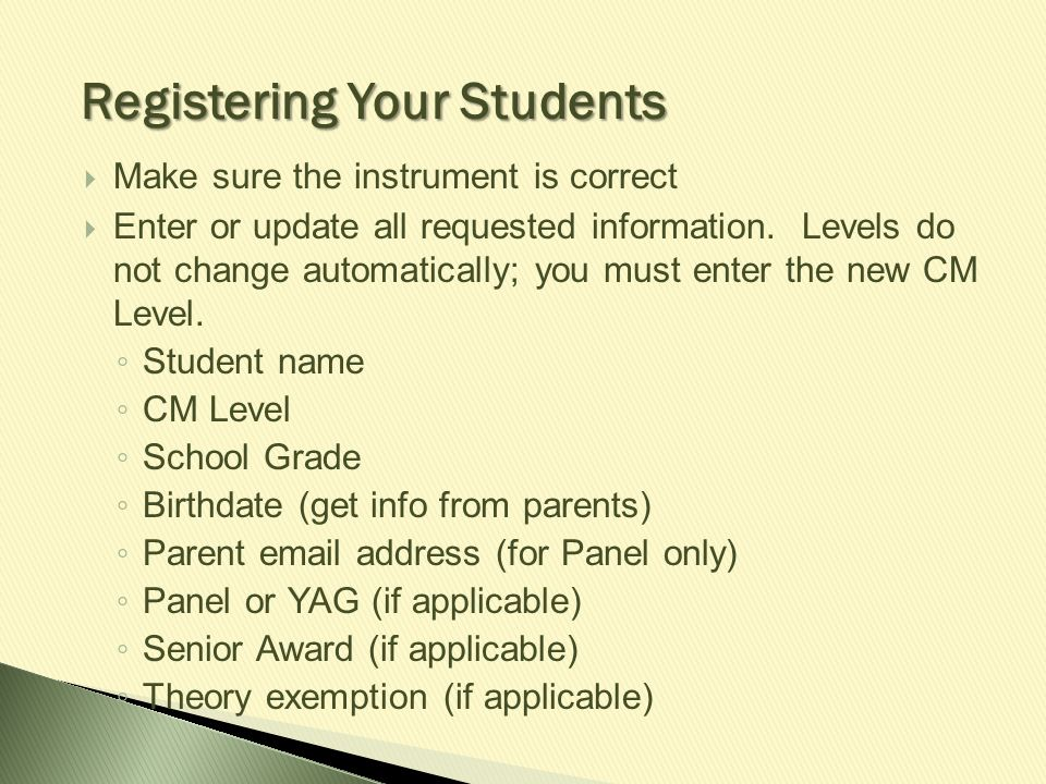 Registering Your Students
