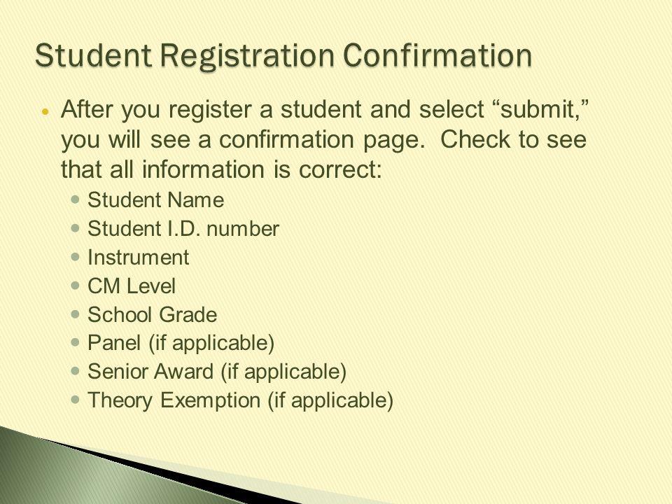 Student Registration Confirmation