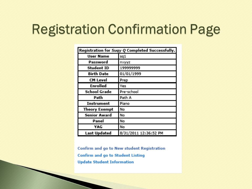 Registration Confirmation Page