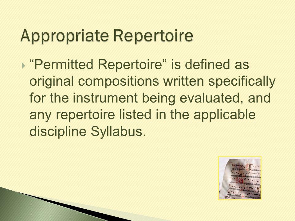 Appropriate Repertoire