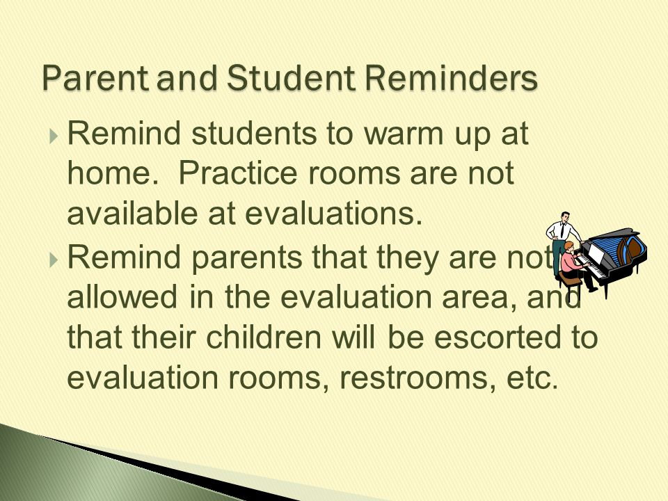Parent and Student Reminders